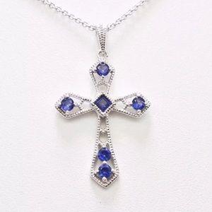 💙Vintage Sterling 3/4 Blue Sapphire Necklace 💙